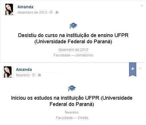 Amanda entrou para o Curso de Jornalismo da UFPR em 2013. Insatisfeita com o curso, ela fez o PROVAR e agora está cursando Direito na instituição.