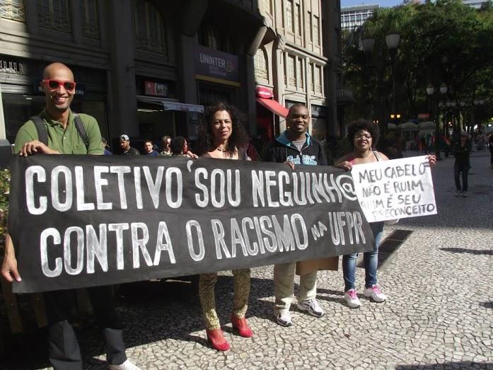Ato contra o racismo dentro da universidade, pelo Coletivo Sou Neguinha (Foto: Reprodução)