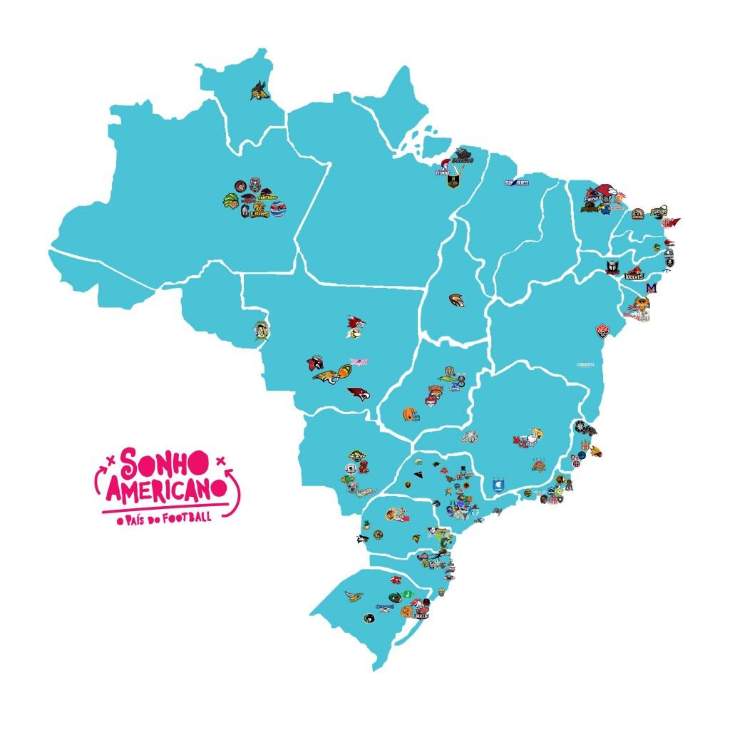 Mapa com as equipes de Futebol Americano no Brasil. Paraná e um dos estados com maior número de times (Foto: Reprodução Sonho Americano)