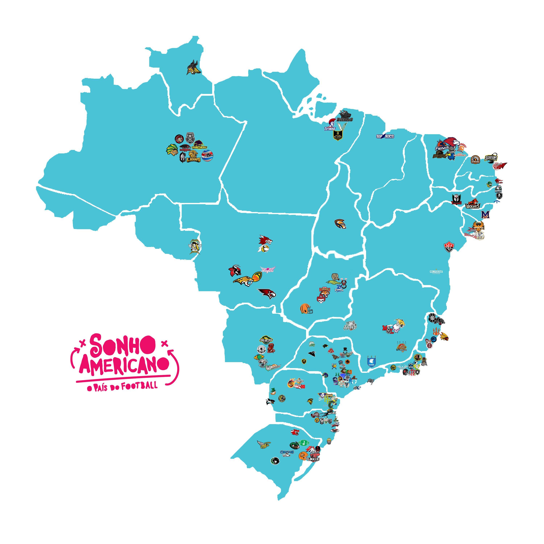 89c2a942c3bb0 Mapa com as equipes de Futebol Americano no Brasil. Paraná e um dos estados  com