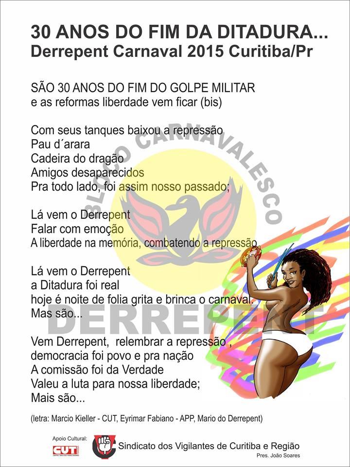 Letra do samba do bloco Derrepent  (Foto: Reprodução)