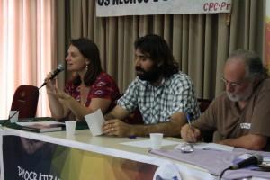 """""""Os membros da mesa de abertura Bia Barbosa, João Paulo Mehl e Ayoub Hanna iniciaram os debates do EPDC. (Foto: Vinícius Carvalho)"""