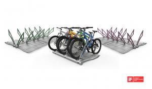 O bicicletário utiliza o espaço de apenas uma vaga de estacionamento e suporta 5 bicicletas ao mesmo tempo. Foto: Divulgação.