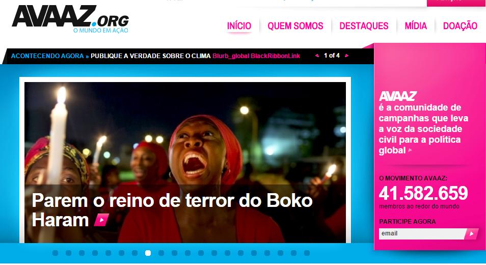 O site Avaaz é uma ferramenta de petições online  (Foto: Reprodução)