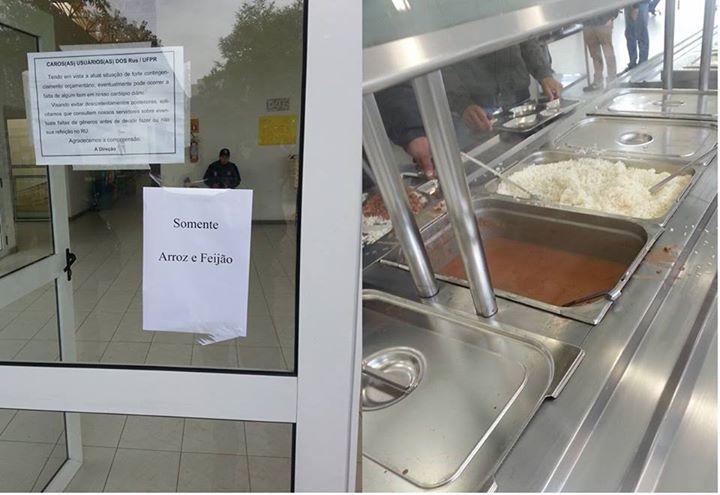Nos últimos dias R.U Centro Politécnico oferece só arroz e feijão (Foto: Reprodução)